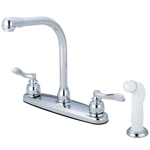NuWave French Double Handle Centerset High Arch Kitchen Faucet with White Sprayer