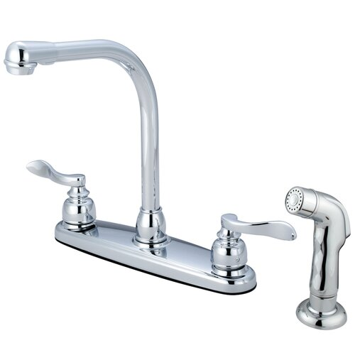 Elements of Design NuWave French Double Handle Centerset High Arch Kitchen Faucet with Matching Sprayer