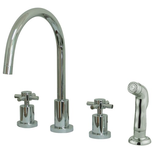 Concord Double Handle Single Hole Widespread Kitchen Faucet with Sprayer