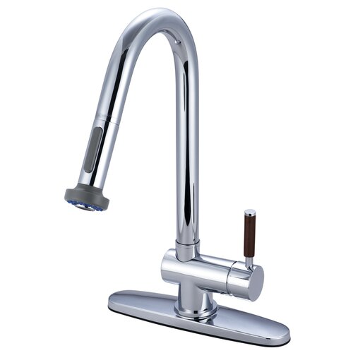 Elements of Design Wilshire Single Handle Kitchen Faucet Pull-Down Sprayer