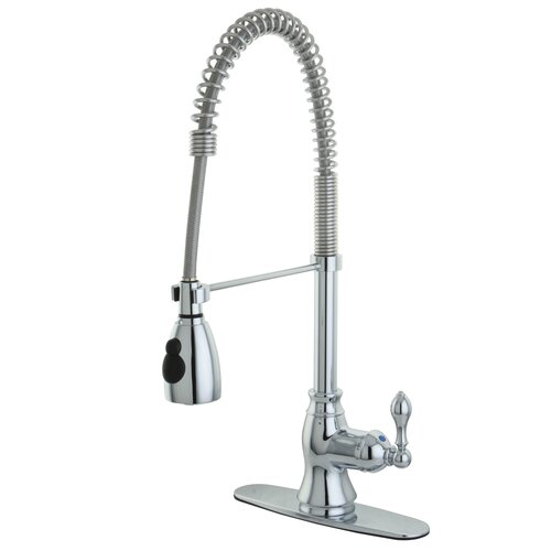Elements of Design American Classic Single Handle Pull Down Kitchen Faucet with Deck Plate