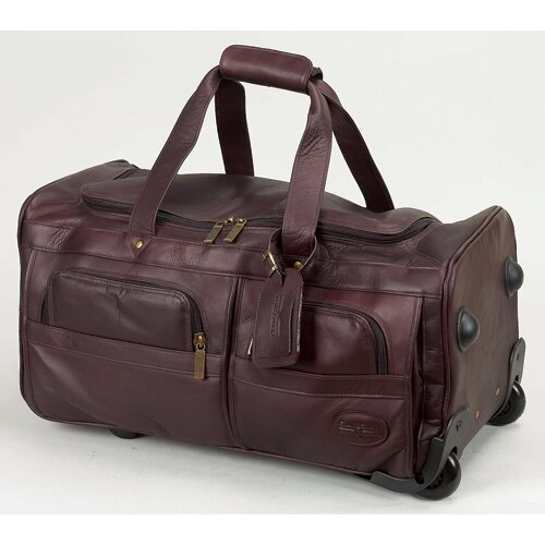 "Claire Chase 22"" Leather 2-Wheeled Carry-On Duffel"