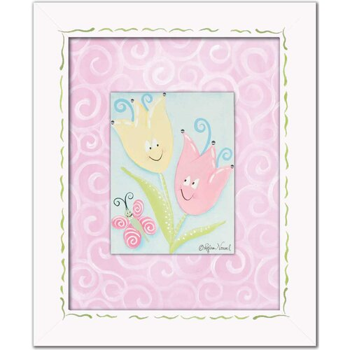 Flowers and Bugs Tiptoe Tulips with Butterfly Framed Art