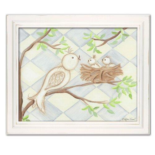 Doodlefish Birds Bunnies Birdie Diamond Giclee Framed Art