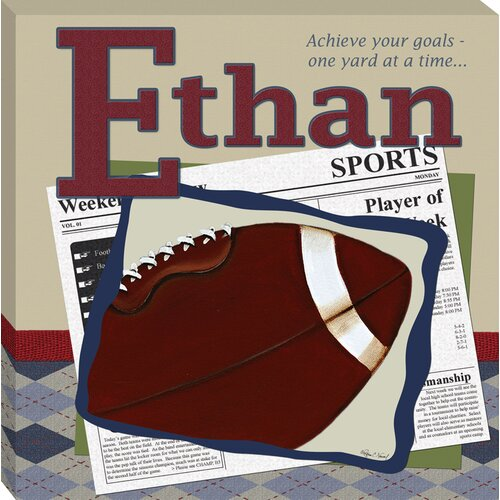 Doodlefish Personalized Football in the News Giclee Canvas Art