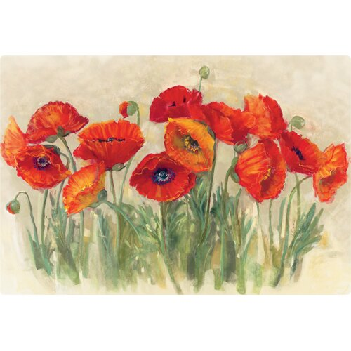 "Magic Slice 7.5"" x 11"" Vibrant Poppies Design Cutting Board"