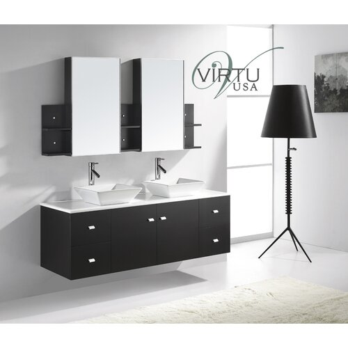 Virtu ultra modern 61 double clarissa bathroom vanity set for Ultra modern bathroom