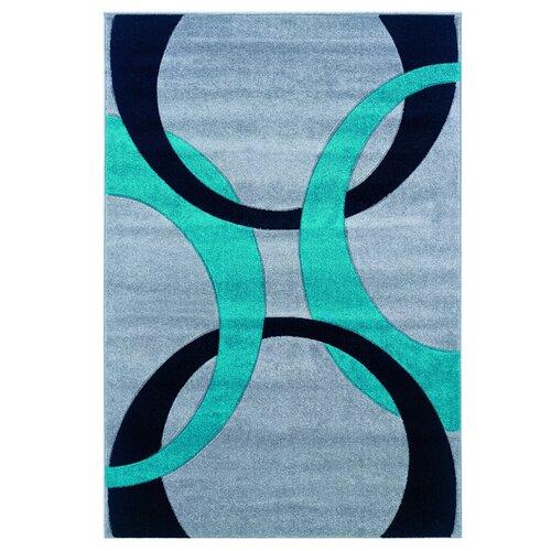 Linon Rugs Corfu Grey/Turquoise Kids Rug