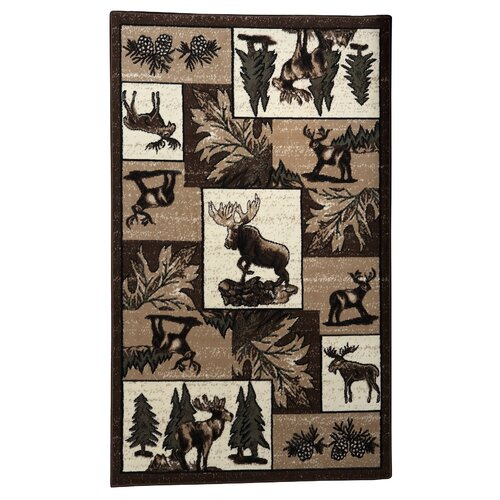 Linon Rugs Lodge 06 Wildlife Novelty Rug
