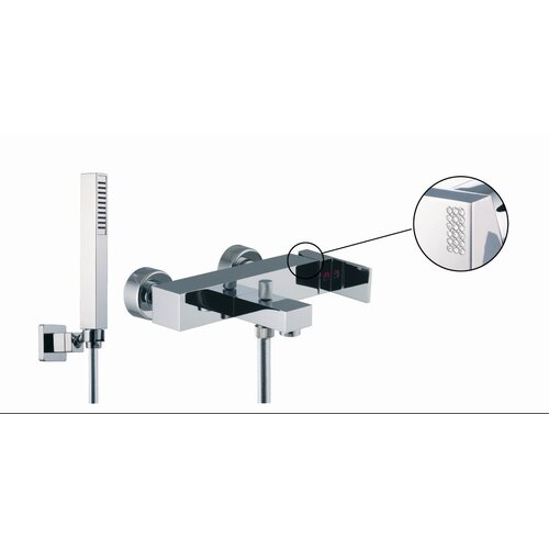 Fima by Nameeks Brick Double Handle Deck Mount Thermostatic Tub Shower Faucet with Hand Shower