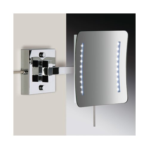 Wall Mounted 3X Magnifying Direct Wired LED Mirror with Two Arms and Sensor