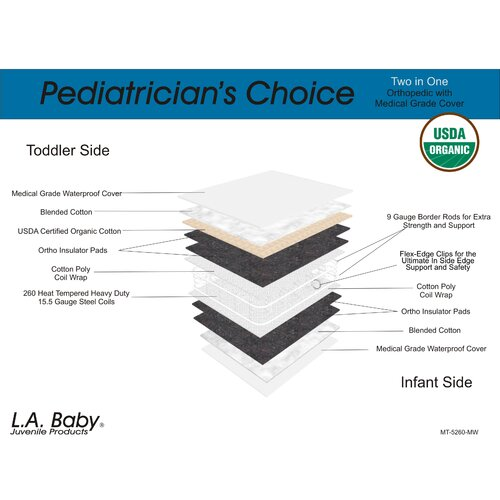 L.A. Baby Pediatrician's Choice 2 in 1 Orthopedic with Medical Grade Cover