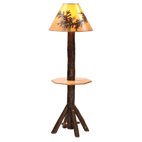 Fireside Lodge Hickory Floor Lamp with Shelf