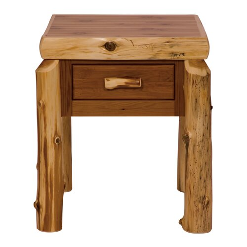 Fireside Lodge Traditional Cedar Log 1 Drawer Nightstand