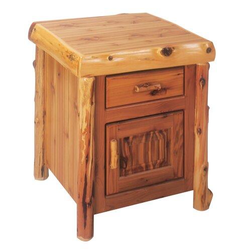 Fireside Lodge Traditional Cedar Log 1 Drawer Nightstand