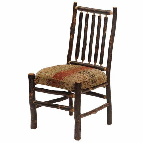 Fireside Lodge Hickory Spoke Back Fabric Side Chair