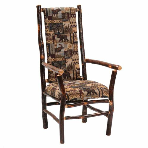 Fireside Lodge Hickory High Back Fabric Arm Chair