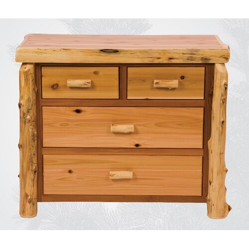 Fireside Lodge Traditional Cedar Log 4 Drawer Dresser