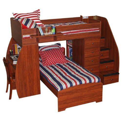 Berg Furniture Sierra Twin Space Saver L-Shaped Bunk Bed with Desk and Stairs