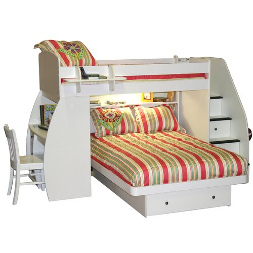 Sierra Twin over Full L-Shaped Bunk Bed with Desk and Storage