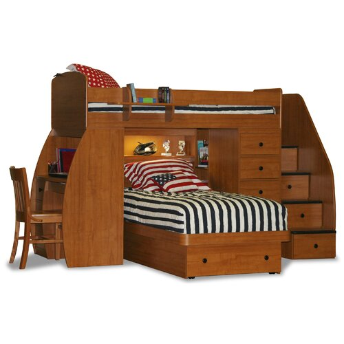 Space saver twin over twin platform bunk bed with desk and storage