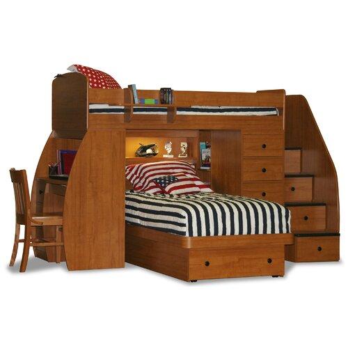 berg furniture space saver twin over twin platform bunk bed with desk and storage. Black Bedroom Furniture Sets. Home Design Ideas