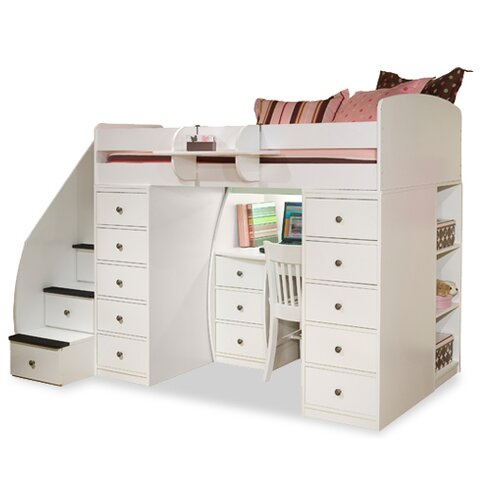Berg Furniture Sierra Twin Space Saver Loft Bed with Desk and Storage
