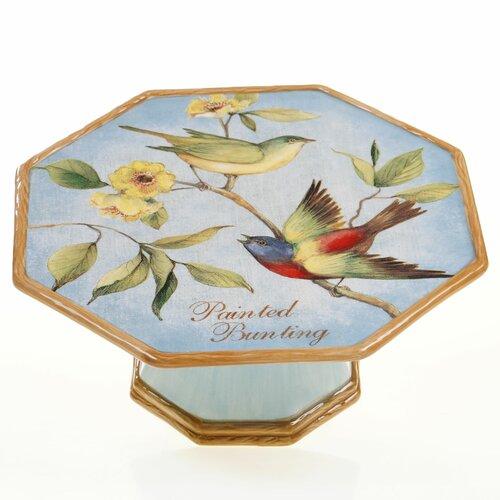 "Certified International Botanical Birds 10"" Pedestal Cake Stand"