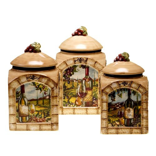certified international tuscan view 3 piece canister set red rooster canister biscuit tin shabby french chic