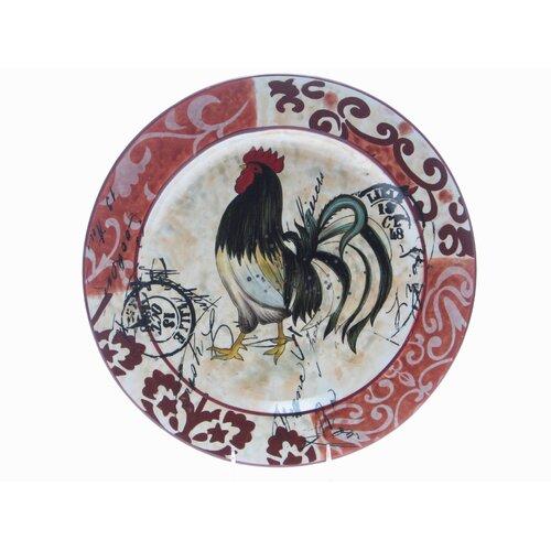 """Certified International Lille Rooster by Geoffrey Allen 17"""" Round Platter"""