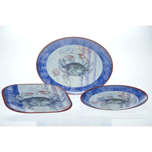 Certified International Blue Crab by Geoff Allen 3-Piece Serving Set