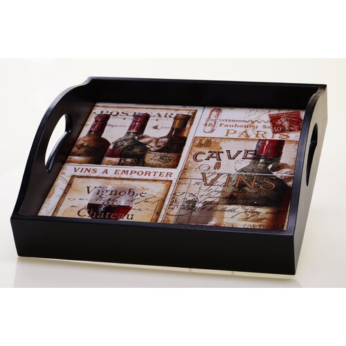 """Certified International French Cellar 12.75"""" 4-Tile Square Tray with Handles"""