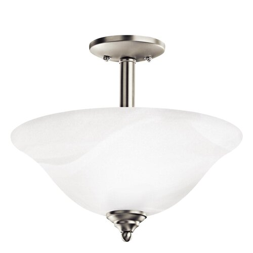 Brushed 2 Light Semi Flush/Inverted Pendant