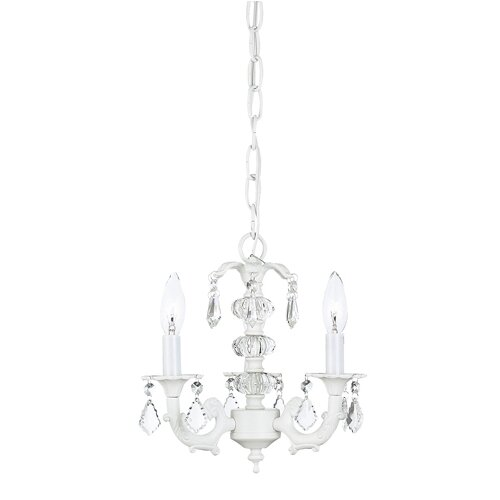 Jubilee Collection Stacked Glass Ball Chandelier in White