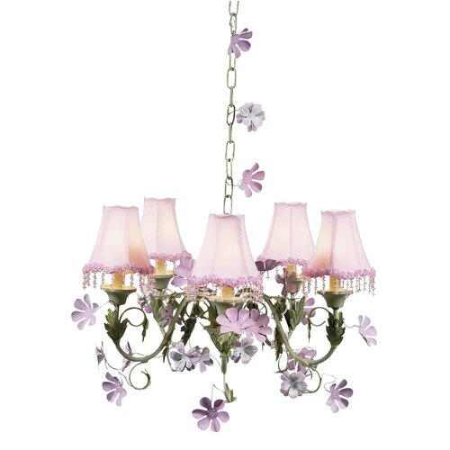 Jubilee Collection Leaf and Flower 5 Light Chandelier with Flower Shade