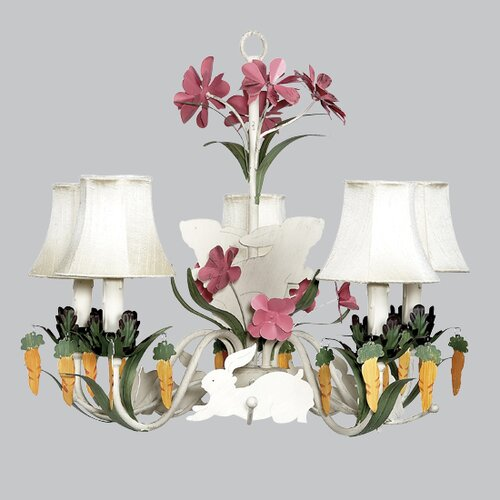 5 Light Chandelier With Plain Shade
