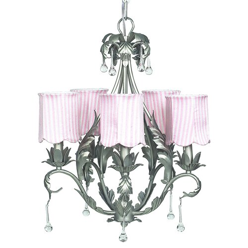 Jubilee Collection Caesar 5 Light Chandelier with Stripe Scallop Drum Shade