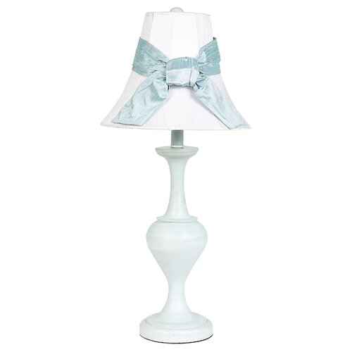 Jubilee Collection Curvature Large Table Lamp with Plain Shade Tied With A Blue Sash