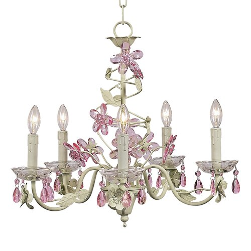 Crystal Flower 5 Light Chandelier