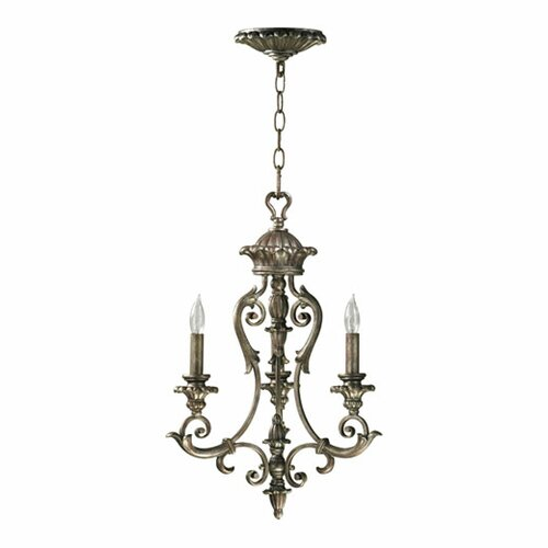 Quorum Barcelona 3 Light Chandelier in Mystic Silver