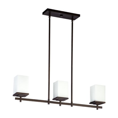 Delta 3 Light Kitchen Island Light in Oiled Bronze