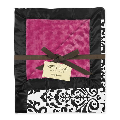 Isabella Hot Pink, Black and White Collection Baby Blanket