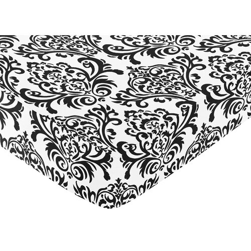 Isabella Black and White Fitted Crib Sheet