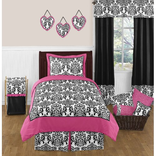 Sweet Jojo Designs Isabella Hot Pink, Black and White 4 Piece Twin Bedding Set