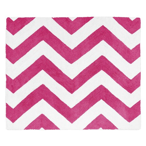 Chevron Hot Pink and White Rug