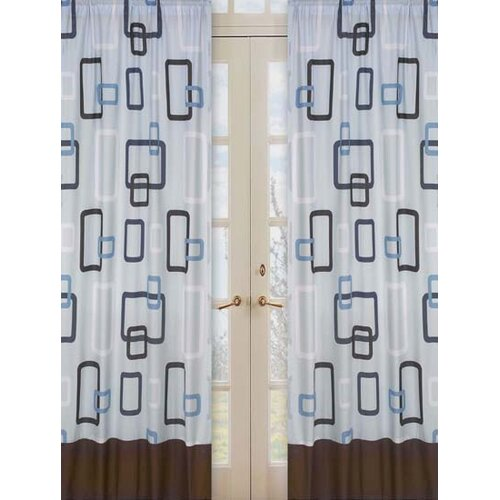 Sweet Jojo Designs Geo Blue Cotton Curtain Panel
