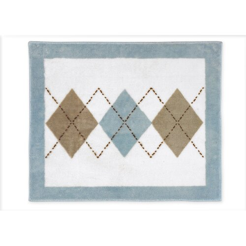 Sweet Jojo Designs Argyle Blue Cocoa Collection Floor Rug