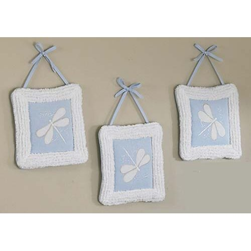Sweet Jojo Designs 3 Piece Blue Dragonfly Dreams Hanging Art Set