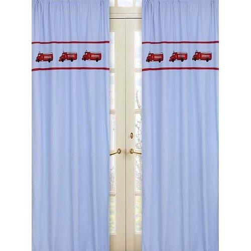 Sweet Jojo Designs Fire Truck Cotton Curtain Panel