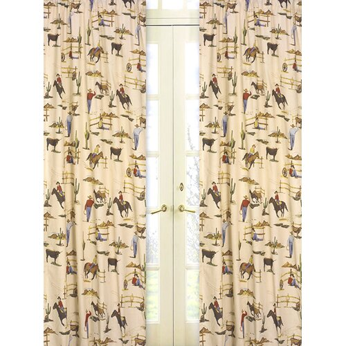 Sweet Jojo Designs Wild West Cowboy Print Cotton Curtain Panel